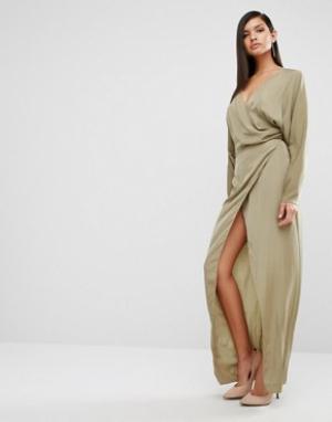 AQ Платье макси с драпировкой AQ/AQ Marvey. Цвет: зеленый