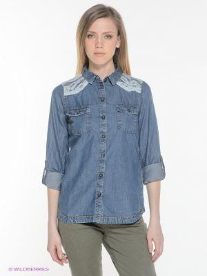 Рубашка OBJECT. Цвет: синий