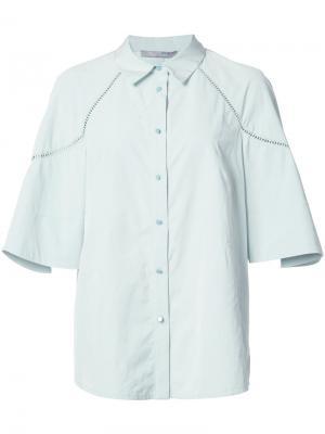 Рубашка с оборчатыми рукавами Lela Rose. Цвет: зелёный