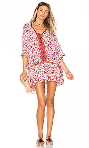 Платье-пончо bobo Poupette St Barth. Цвет: розовый
