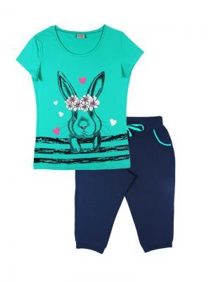 Комплект женский (футболка, бриджи) Family Colors. Цвет: зеленый