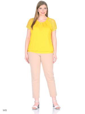 Блуза Кружево BlagoF. Цвет: желтый