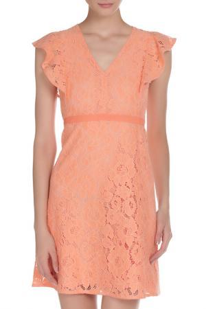 Кружевное платье с объёмными рукавами Toy G.. Цвет: оранжевый