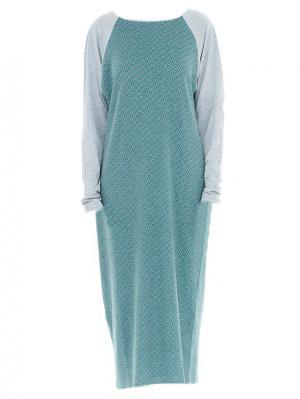 Платье миди с рукавом реглан бирюзовое Bella kareema