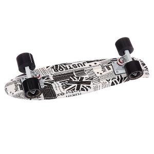 Скейт мини круизер  English Paper White/White/Black 22 (56 см) Turbo-FB. Цвет: белый,черный