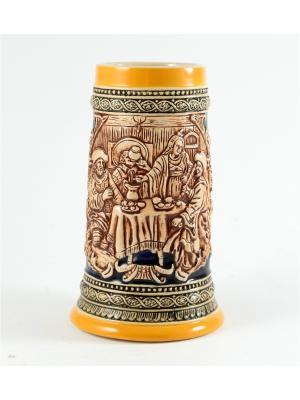 Пивная кружка коллекционная Застолье BURGER. Цвет: коричневый, оранжевый, темно-бежевый