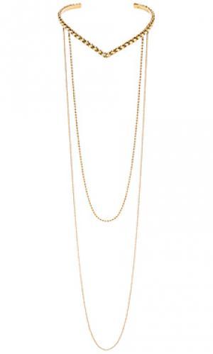 Ожерелье v collar drip SunaharA. Цвет: металлический золотой