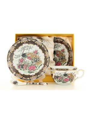 Чайная пара Павлин на золоте Elan Gallery. Цвет: белый, черный, розовый, золотистый