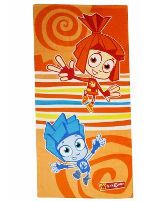 Махровые полотенца  Фиксики Нолик и Симка. Цвет: оранжевый