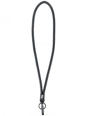 Плетеный ремешок для ключей Y-3. Цвет: чёрный