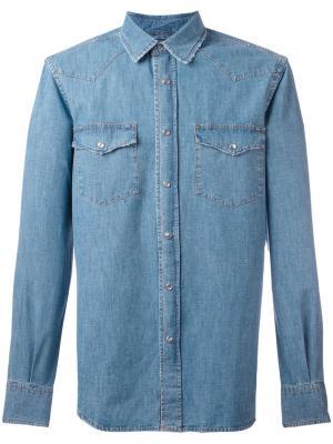 Джинсовая рубашка в стиле вестерн Aspesi. Цвет: синий