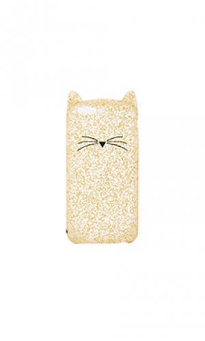 Чехол для iphone 7 glitter cat kate spade new york. Цвет: металлический золотой