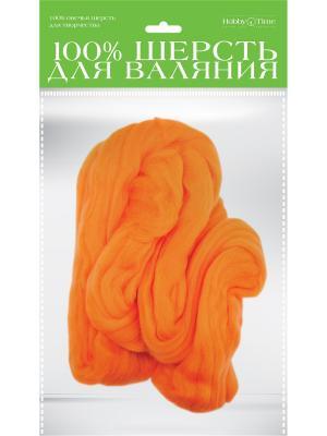 Шерсть для валяния полутонкая (гребенная лента), оранжевая, 50 гр. Альт. Цвет: оранжевый