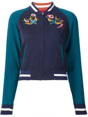 Куртка-бомбер с вышитыми птицами Elizabeth And James. Цвет: синий