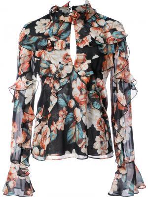 Блузка с рюшами Luna Nicholas. Цвет: чёрный