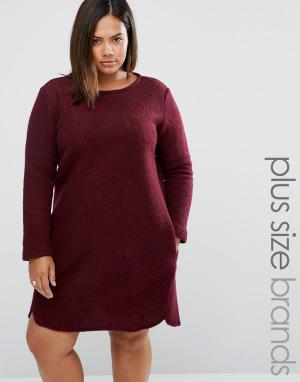 Elvi Цельнокройное платье с добавлением шерсти Plus. Цвет: красный