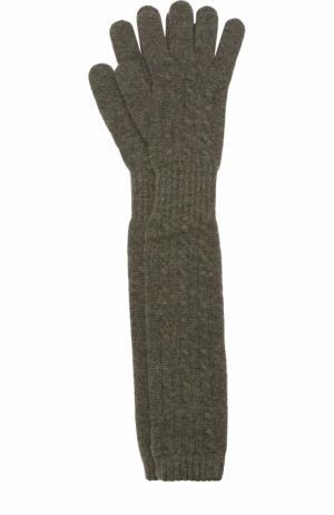 Удлиненные перчатки из кашемира Kashja` Cashmere. Цвет: хаки