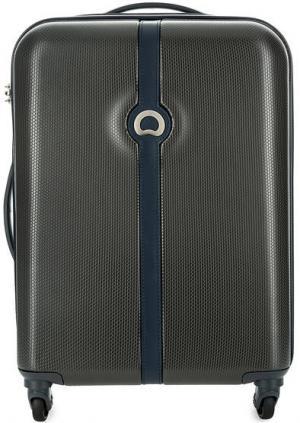 Маленький пластиковый чемодан на колесах Delsey. Цвет: коричневый