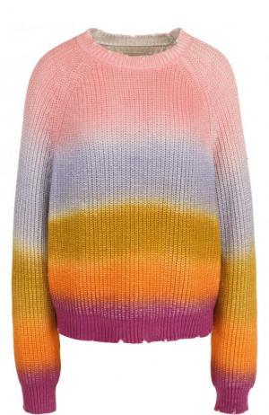 Хлопковый пуловер свободного кроя с круглым вырезом Zadig&Voltaire. Цвет: разноцветный
