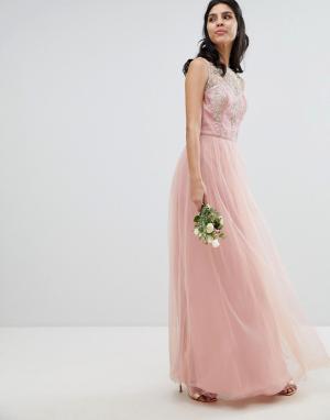 Chi London Платье макси без рукавов с кружевом и юбкой из шифона. Цвет: розовый