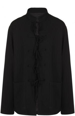 Шерстяной жакет с воротником-стойкой Yohji Yamamoto. Цвет: черный
