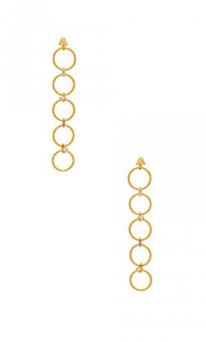Серьги the scattered gem Luv AJ. Цвет: металлический золотой