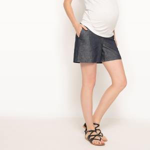 Шорты для периода беременности из хлопка и льна La Redoute Collections. Цвет: синий индиго
