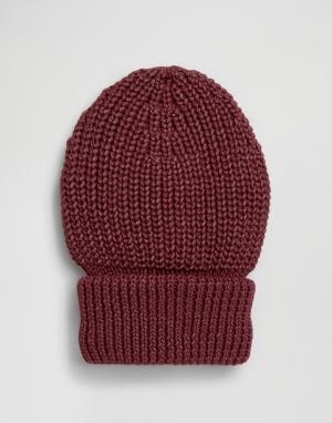 Hat Attack Шапка-бини в крупный рубчик с отворотом. Цвет: красный