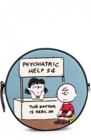 Текстильная сумка Dizzie с вышивкой Psychiatric Help Olympia Le-Tan. Цвет: светло-голубой