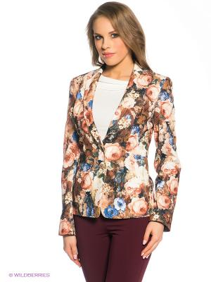 Пиджак Marlen. Цвет: коричневый, бежевый, синий