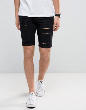 New Look Черные выбеленные облегающие джинсовые шорты с рваной отделкой Loo. Цвет: черный