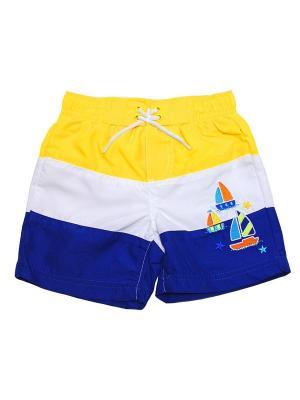 Шорты пляжные Парусник Little Me. Цвет: белый, синий, желтый