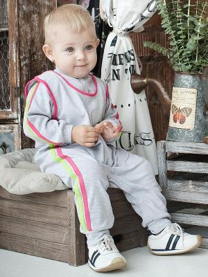 Комбинезон Lucky Child. Цвет: серый меланж, розовый