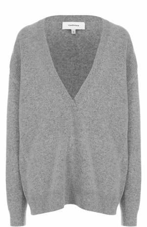 Вязаный свитер свободного кроя из шерсти Carven. Цвет: серый
