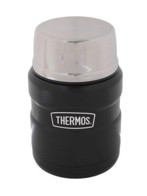 Термос из нерж. стали для еды SK3000 BK King Stainless со складывающейся стальной ложкой 470ml. Thermos. Цвет: черный