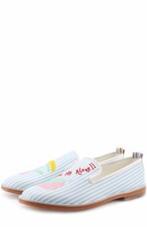 Кожаные слиперы с вышивкой Mira Mikati. Цвет: голубой