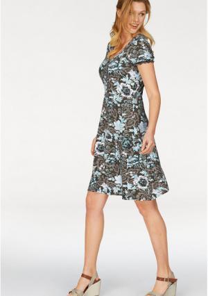 Платье CHEER. Цвет: оливково-зеленый/серо-коричневый/белый/бирюзовый с рисунком