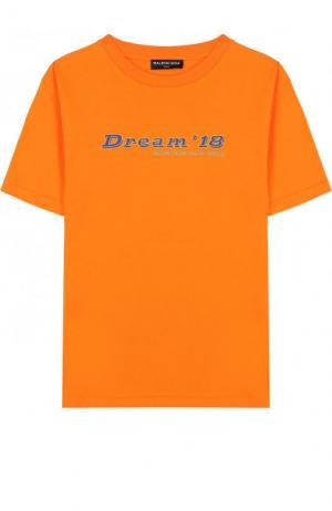 Хлопковая футболка с надписью Balenciaga. Цвет: оранжевый