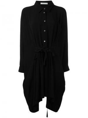Платье-рубашка с рюшами Peter Jensen. Цвет: чёрный