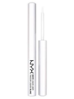Жидкий лайнер белого цвета WHITE LIQUID LINER - 01 NYX PROFESSIONAL MAKEUP. Цвет: белый