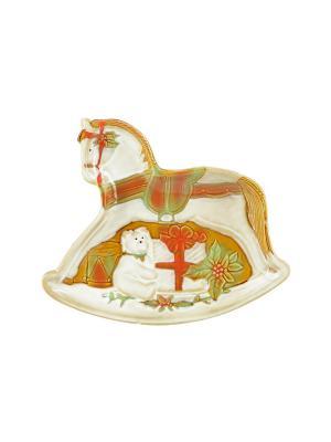 Тарелка для печенья 25*22 см в виде лошадки Санта Certified International. Цвет: бежевый
