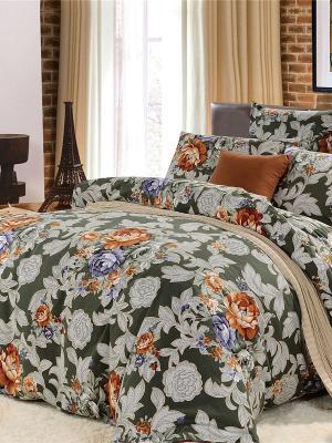 Комплект постельного белья, Зарина, Евро KAZANOV.A.. Цвет: зеленый