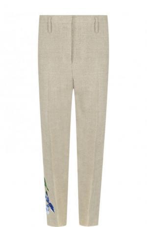Укороченные льняные брюки со стрелками и вышивкой Golden Goose Deluxe Brand. Цвет: бежевый