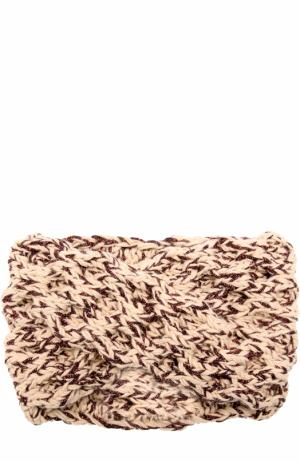 Шерстяная повязка фактурной вязки с отделкой металлизированной нитью 0711. Цвет: бежевый