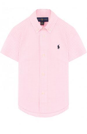Хлопковая рубашка в клетку и воротником button down Polo Ralph Lauren. Цвет: розовый