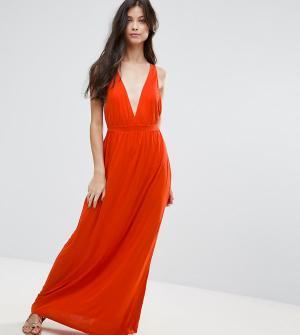 ASOS Petite Трикотажное пляжное платье макси. Цвет: оранжевый