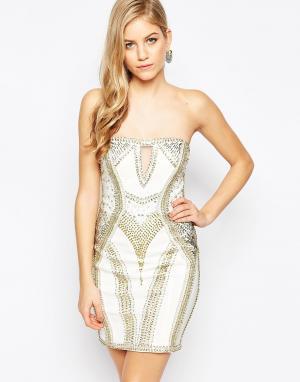 Forever Unique Платье мини с отделкой Leesa. Цвет: белый