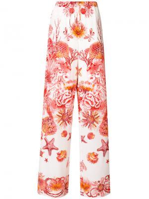 Расклешенные брюки с принтом Roberto Cavalli. Цвет: красный