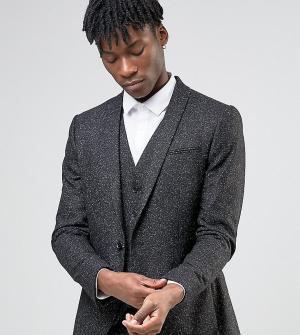 Noak Зауженный пиджак из крапчатой ткани с лацканами наклонной формы. Цвет: черный