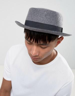 ASOS Серая меланжевая шляпа с узкими полями. Цвет: серый
